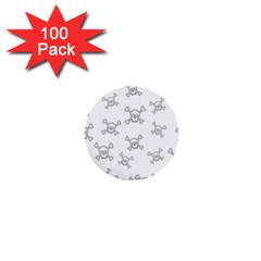 Skull Pattern 1  Mini Buttons (100 Pack)  by ValentinaDesign