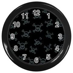Skull Pattern Wall Clocks (black) by ValentinaDesign