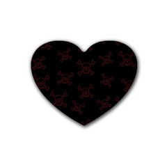 Skull Pattern Rubber Coaster (heart)  by ValentinaDesign
