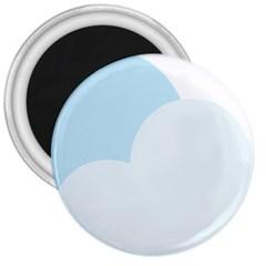 Cloud Sky Blue Decorative Symbol 3  Magnets by Nexatart