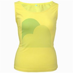 Cloud Sky Blue Decorative Symbol Women s Yellow Tank Top by Nexatart