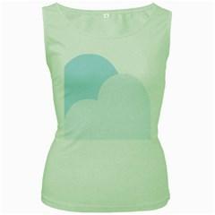 Cloud Sky Blue Decorative Symbol Women s Green Tank Top