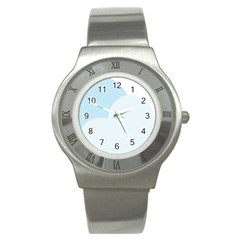 Cloud Sky Blue Decorative Symbol Stainless Steel Watch by Nexatart