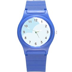 Cloud Sky Blue Decorative Symbol Round Plastic Sport Watch (s)