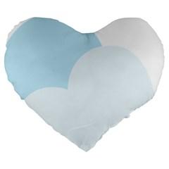 Cloud Sky Blue Decorative Symbol Large 19  Premium Heart Shape Cushions by Nexatart