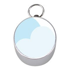 Cloud Sky Blue Decorative Symbol Mini Silver Compasses
