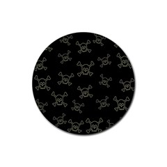 Skull Pattern Rubber Round Coaster (4 Pack)  by ValentinaDesign