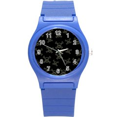 Skull Pattern Round Plastic Sport Watch (s) by ValentinaDesign