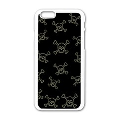 Skull Pattern Apple Iphone 6/6s White Enamel Case by ValentinaDesign