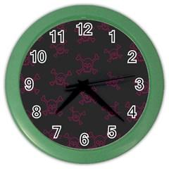 Skull Pattern Color Wall Clocks by ValentinaDesign