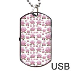 Lotus Dog Tag Usb Flash (one Side) by ValentinaDesign
