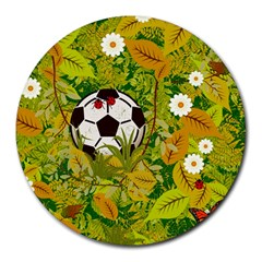 Ball On Forest Floor Round Mousepads by linceazul