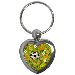 Ball On Forest Floor Key Chains (heart)  by linceazul