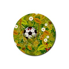 Ball On Forest Floor Rubber Coaster (round)  by linceazul
