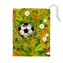 Ball On Forest Floor Drawstring Pouches (extra Large) by linceazul