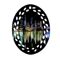 City Panorama Ornament (oval Filigree) by Valentinaart