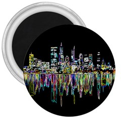 City Panorama 3  Magnets by Valentinaart