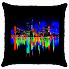 City Panorama Throw Pillow Case (black) by Valentinaart