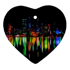 City Panorama Ornament (heart) by Valentinaart