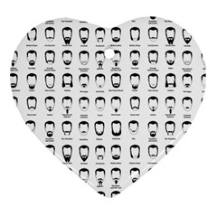 Beard Types Pattern Heart Ornament (two Sides) by Valentinaart