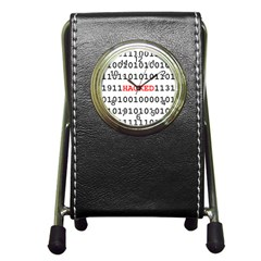 Binary Black Cyber Data Digits Pen Holder Desk Clocks