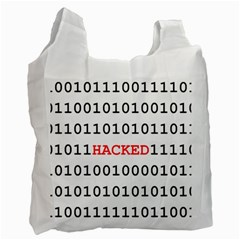 Binary Black Cyber Data Digits Recycle Bag (one Side)