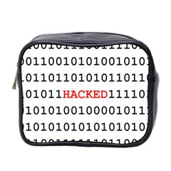 Binary Black Cyber Data Digits Mini Toiletries Bag 2 Side by Nexatart