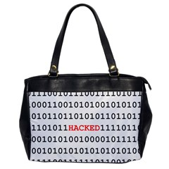 Binary Black Cyber Data Digits Office Handbags by Nexatart