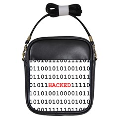 Binary Black Cyber Data Digits Girls Sling Bags by Nexatart