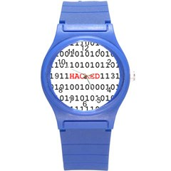 Binary Black Cyber Data Digits Round Plastic Sport Watch (s)
