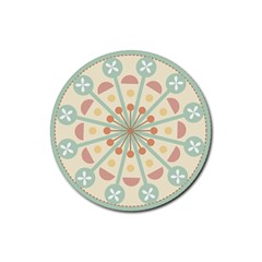 Blue Circle Ornaments Rubber Coaster (round)