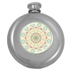 Blue Circle Ornaments Round Hip Flask (5 Oz) by Nexatart