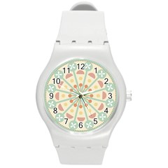 Blue Circle Ornaments Round Plastic Sport Watch (m)