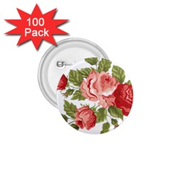 Flower Rose Pink Red Romantic 1 75  Buttons (100 Pack)