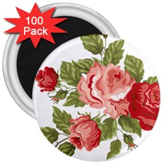 Flower Rose Pink Red Romantic 3  Magnets (100 Pack) by Nexatart