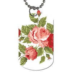 Flower Rose Pink Red Romantic Dog Tag (two Sides)
