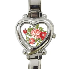 Flower Rose Pink Red Romantic Heart Italian Charm Watch by Nexatart