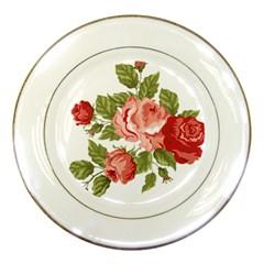 Flower Rose Pink Red Romantic Porcelain Plates by Nexatart