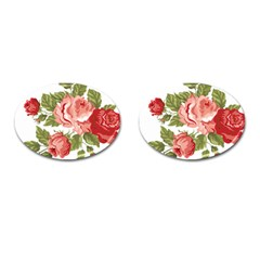 Flower Rose Pink Red Romantic Cufflinks (oval) by Nexatart