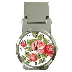 Flower Rose Pink Red Romantic Money Clip Watches by Nexatart