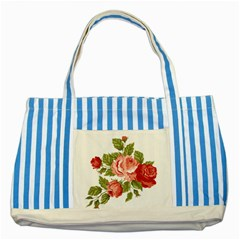 Flower Rose Pink Red Romantic Striped Blue Tote Bag by Nexatart