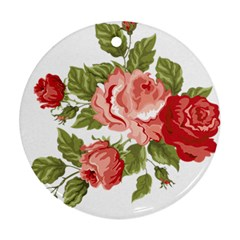 Flower Rose Pink Red Romantic Round Ornament (two Sides)