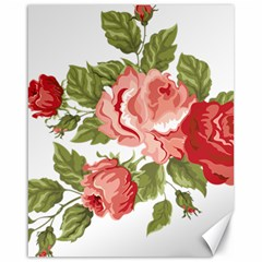Flower Rose Pink Red Romantic Canvas 16  X 20