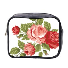 Flower Rose Pink Red Romantic Mini Toiletries Bag 2 Side by Nexatart