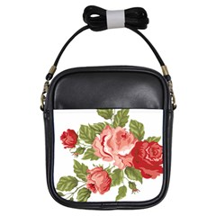 Flower Rose Pink Red Romantic Girls Sling Bags by Nexatart