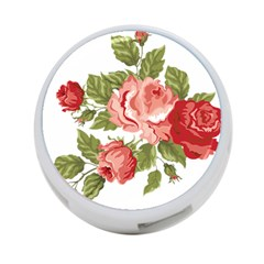 Flower Rose Pink Red Romantic 4 Port Usb Hub (two Sides)