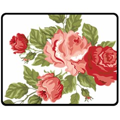 Flower Rose Pink Red Romantic Fleece Blanket (medium)
