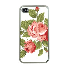 Flower Rose Pink Red Romantic Apple Iphone 4 Case (clear)