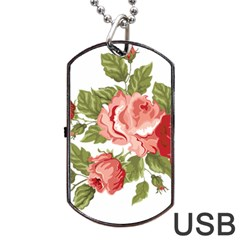 Flower Rose Pink Red Romantic Dog Tag Usb Flash (two Sides) by Nexatart