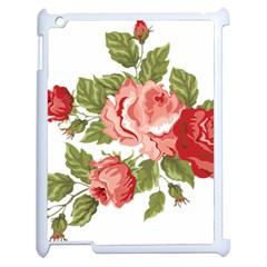 Flower Rose Pink Red Romantic Apple Ipad 2 Case (white) by Nexatart